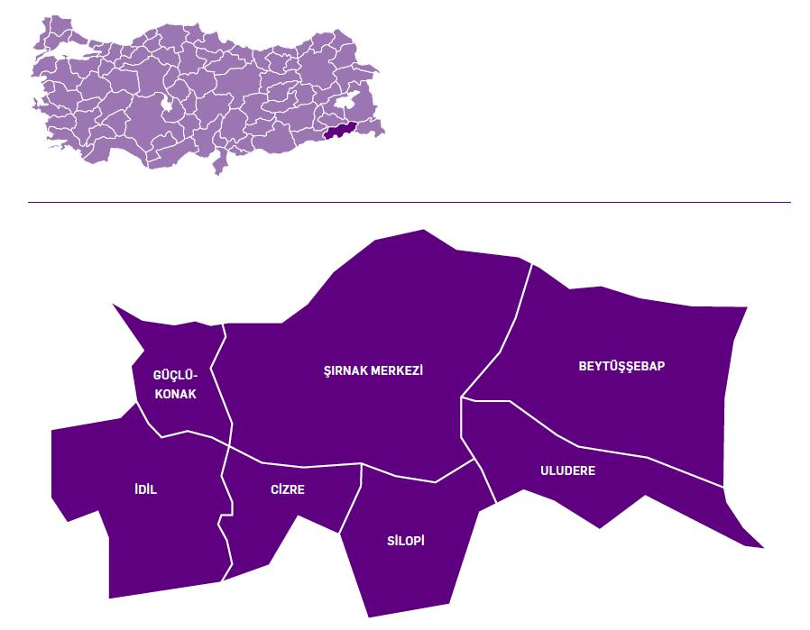 Şırnak ili haritası